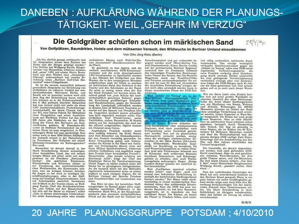 DANEBEN : AUFKLÄRUNG WÄHREND DER PLANUNGS-
