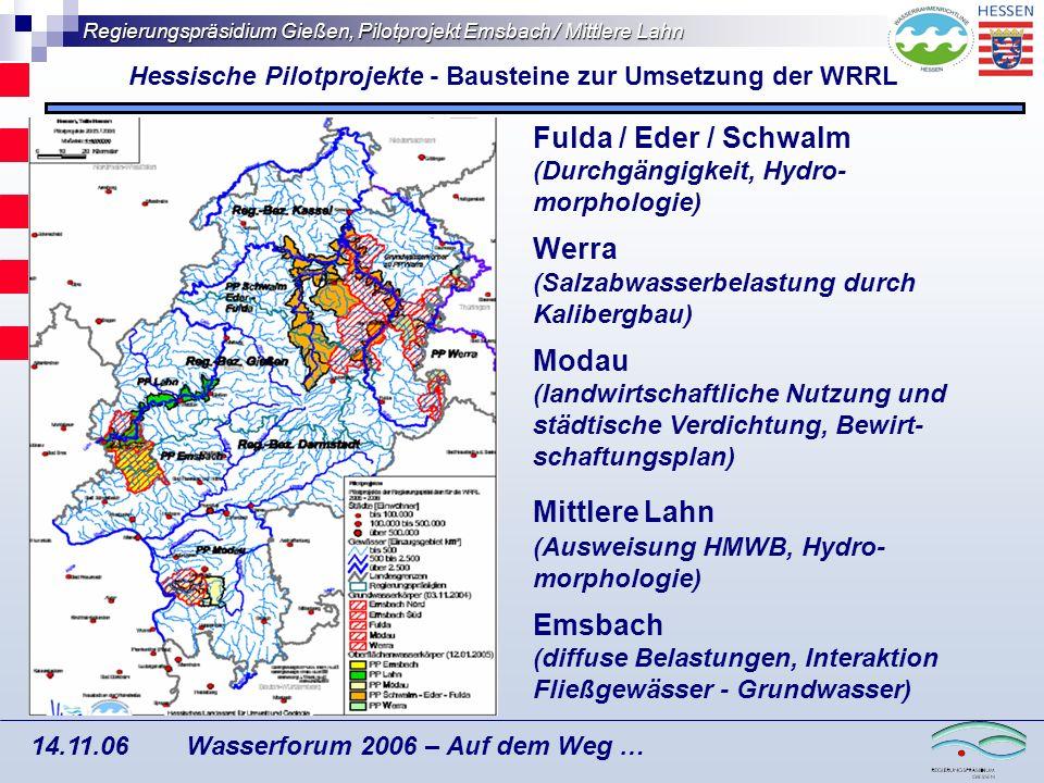 Hessische Pilotprojekte - Bausteine zur Umsetzung der WRRL