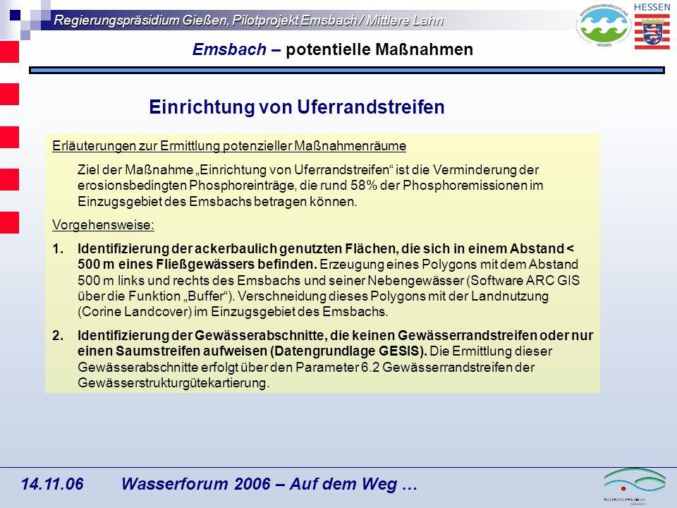 Emsbach – potentielle Maßnahmen Einrichtung von Uferrandstreifen