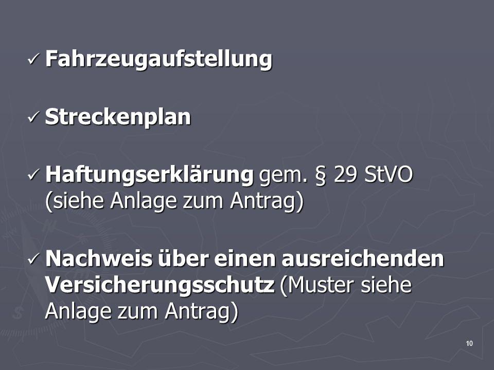 Fahrzeugaufstellung Streckenplan. Haftungserklärung gem. § 29 StVO (siehe Anlage zum Antrag)