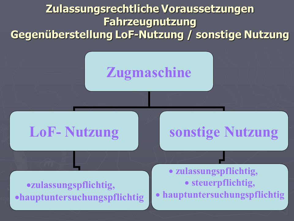 Zulassungsrechtliche Voraussetzungen Fahrzeugnutzung Gegenüberstellung LoF-Nutzung / sonstige Nutzung