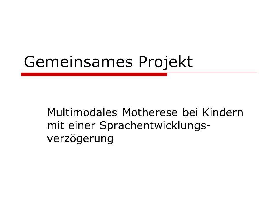 Gemeinsames Projekt Multimodales Motherese bei Kindern mit einer Sprachentwicklungs-verzögerung