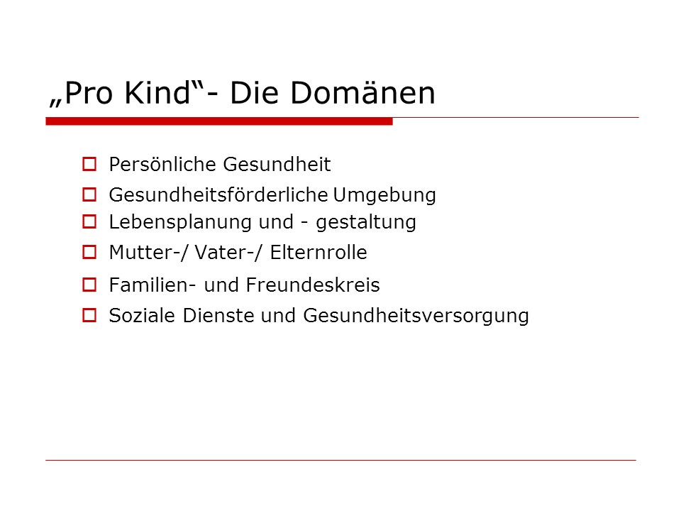 """Pro Kind - Die Domänen"