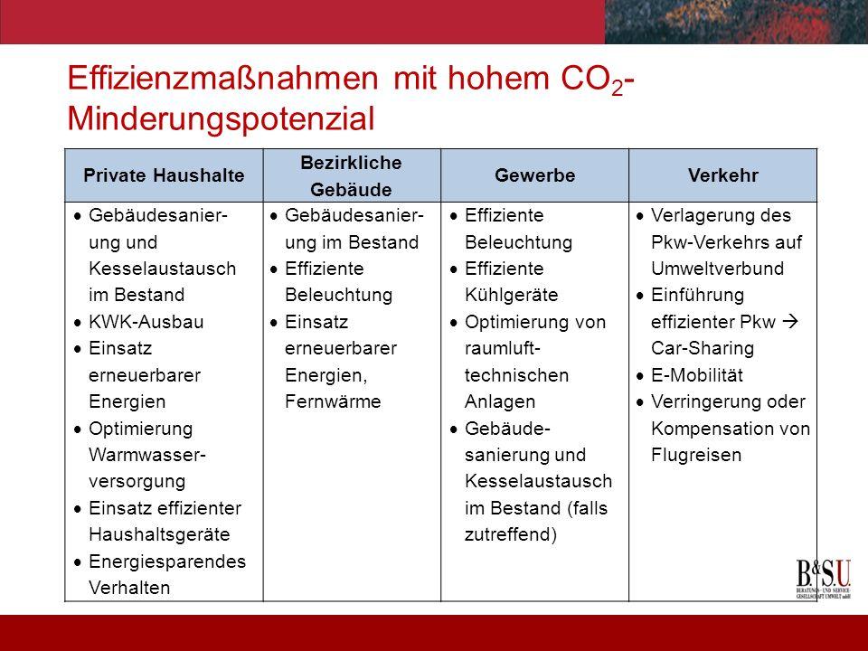 Effizienzmaßnahmen mit hohem CO2-Minderungspotenzial