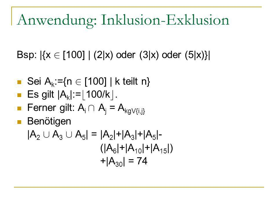 Anwendung: Inklusion-Exklusion