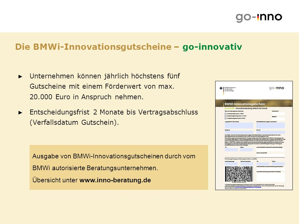 Die BMWi-Innovationsgutscheine – go-innovativ