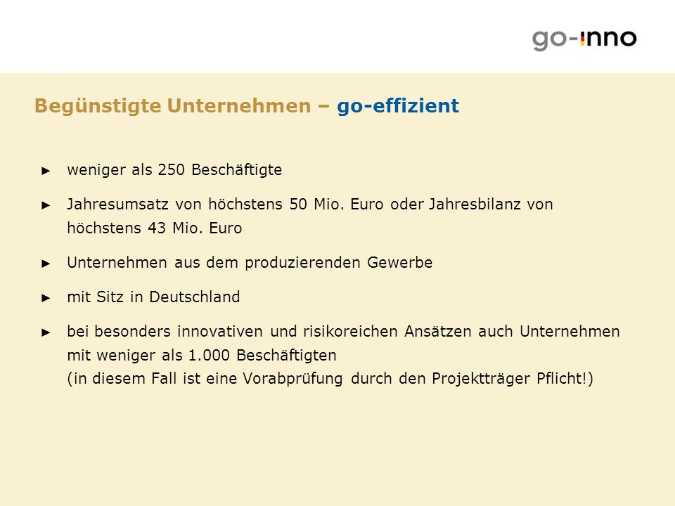 Begünstigte Unternehmen – go-effizient