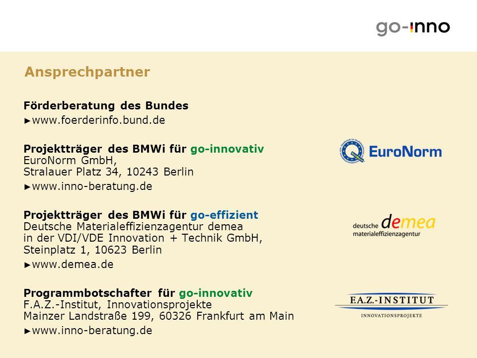 Ansprechpartner Förderberatung des Bundes www.foerderinfo.bund.de