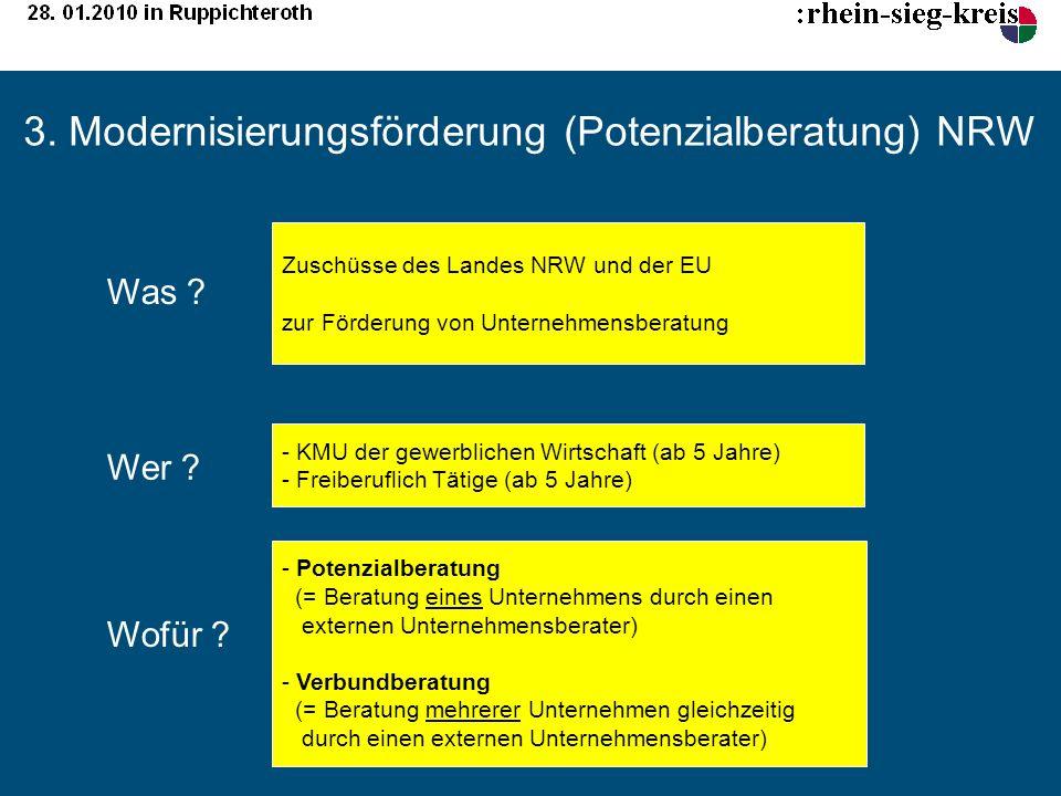 3. Modernisierungsförderung (Potenzialberatung) NRW