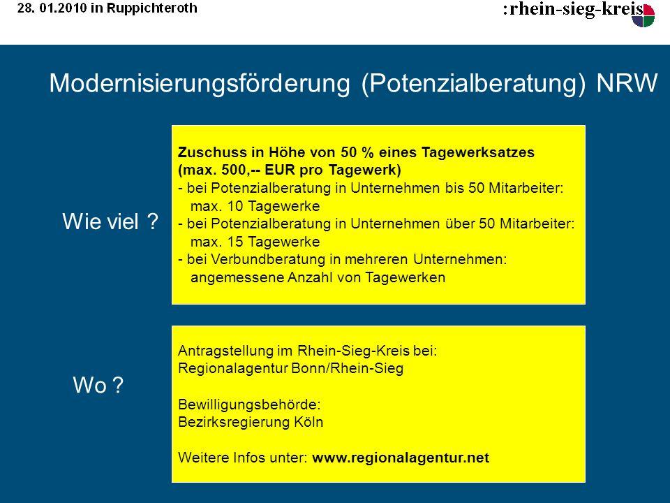 Modernisierungsförderung (Potenzialberatung) NRW