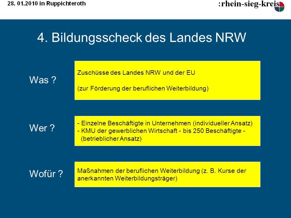 4. Bildungsscheck des Landes NRW