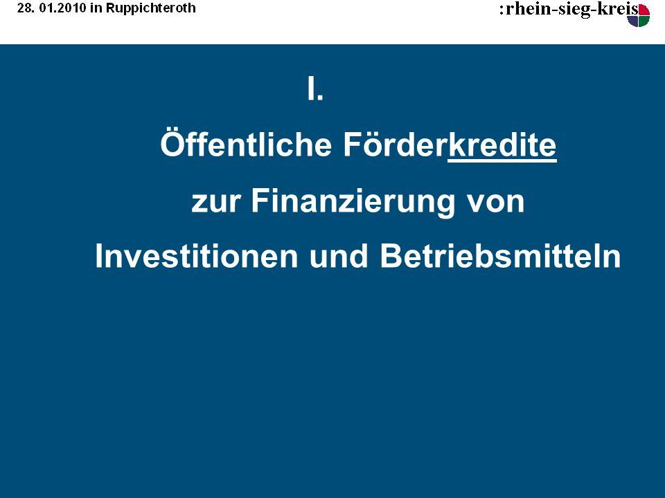 Öffentliche Förderkredite zur Finanzierung von Investitionen und Betriebsmitteln