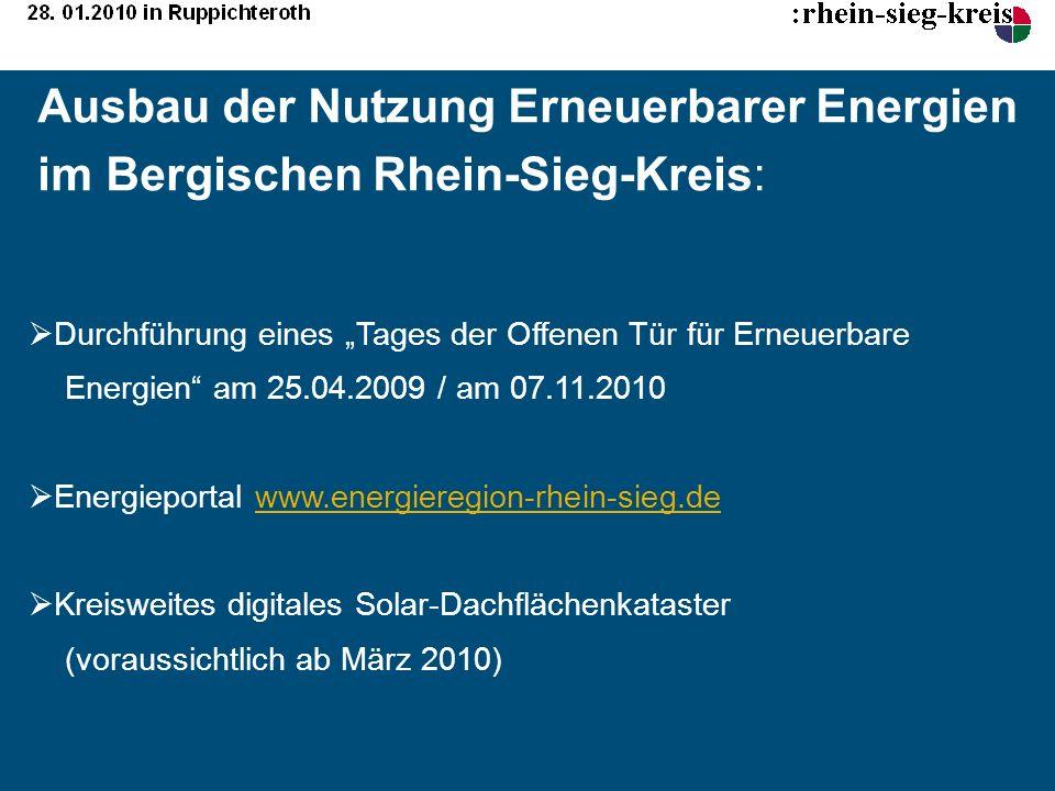 Ausbau der Nutzung Erneuerbarer Energien im Bergischen Rhein-Sieg-Kreis: