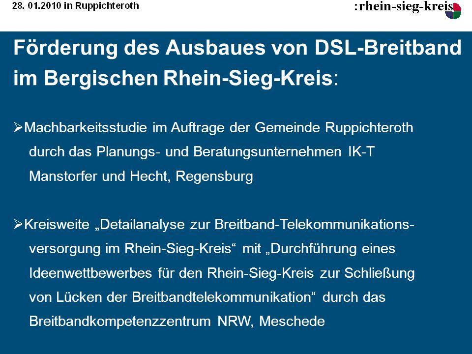 Förderung des Ausbaues von DSL-Breitband im Bergischen Rhein-Sieg-Kreis: