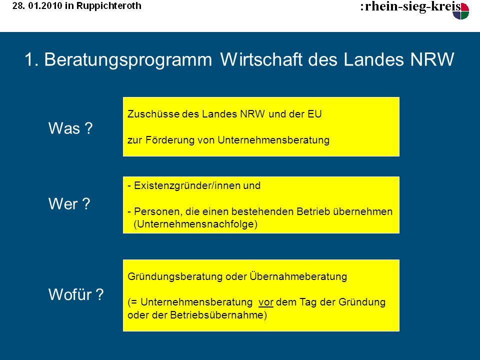 1. Beratungsprogramm Wirtschaft des Landes NRW