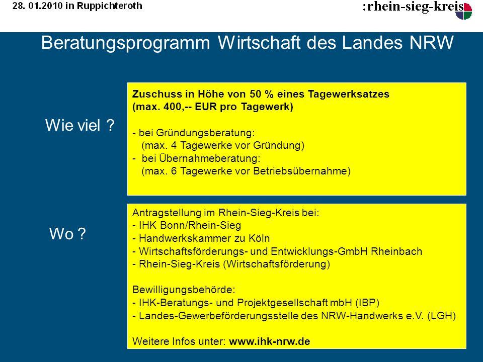 Beratungsprogramm Wirtschaft des Landes NRW