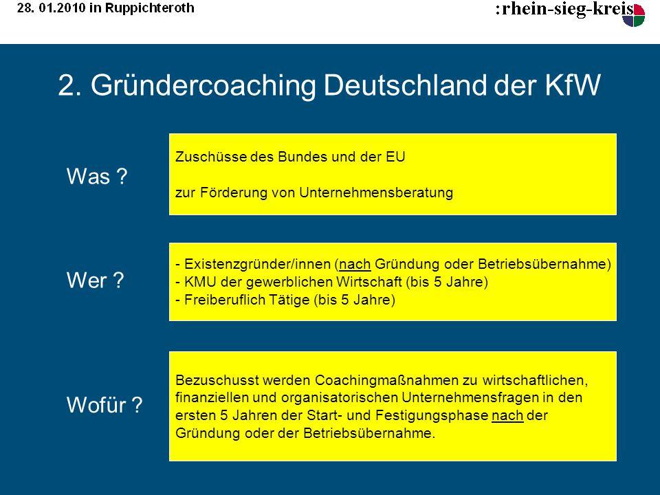 2. Gründercoaching Deutschland der KfW