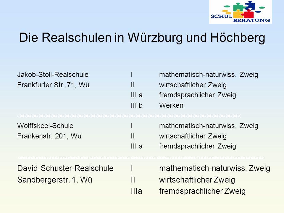 Die Realschulen in Würzburg und Höchberg