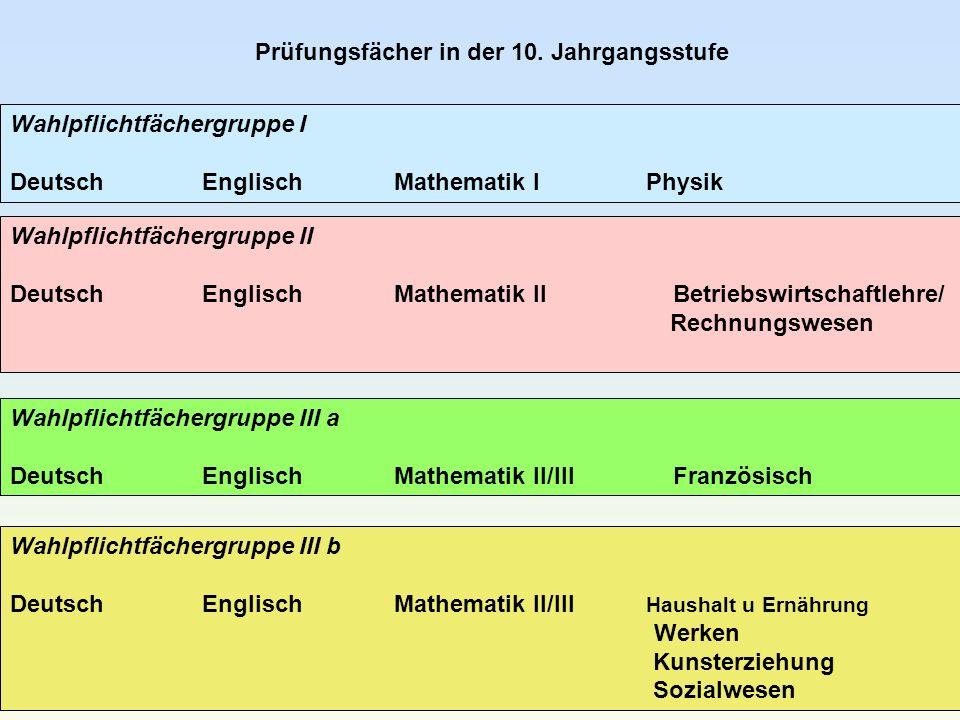 Prüfungsfächer in der 10. Jahrgangsstufe