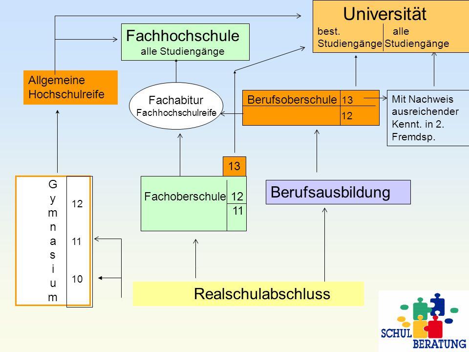 Universität Fachhochschule Berufsausbildung Realschulabschluss