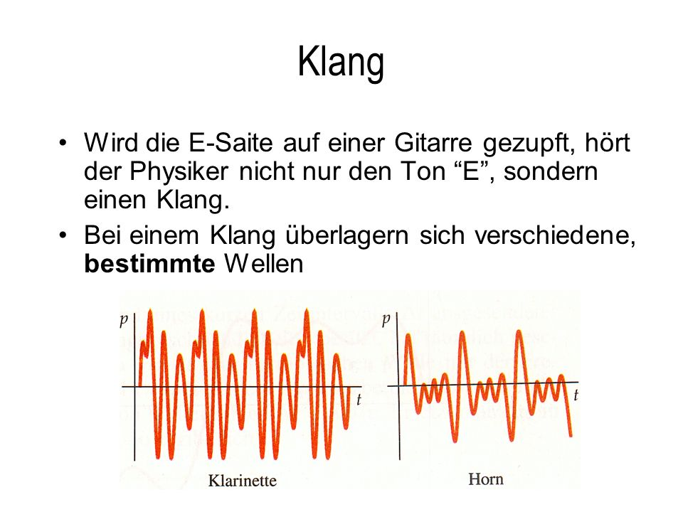 Klang Wird die E-Saite auf einer Gitarre gezupft, hört der Physiker nicht nur den Ton E , sondern einen Klang.