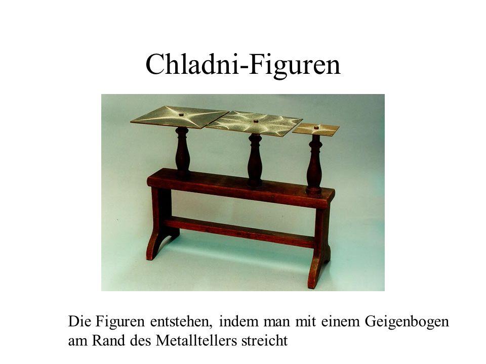 Chladni-FigurenDie Figuren entstehen, indem man mit einem Geigenbogen am Rand des Metalltellers streicht.