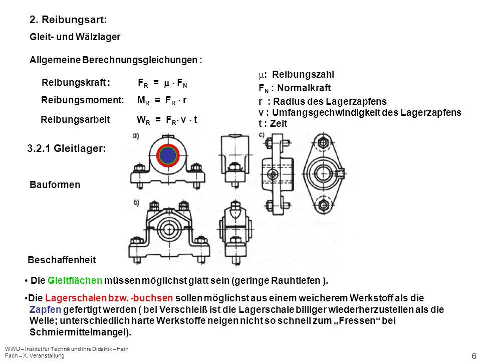 2. Reibungsart: 3.2.1 Gleitlager: Gleit- und Wälzlager