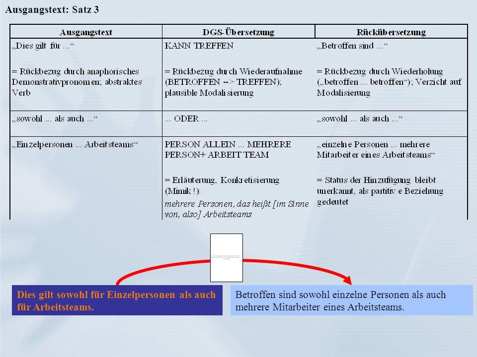 Ausgangstext: Satz 3Dies gilt sowohl für Einzelpersonen als auch für Arbeitsteams.