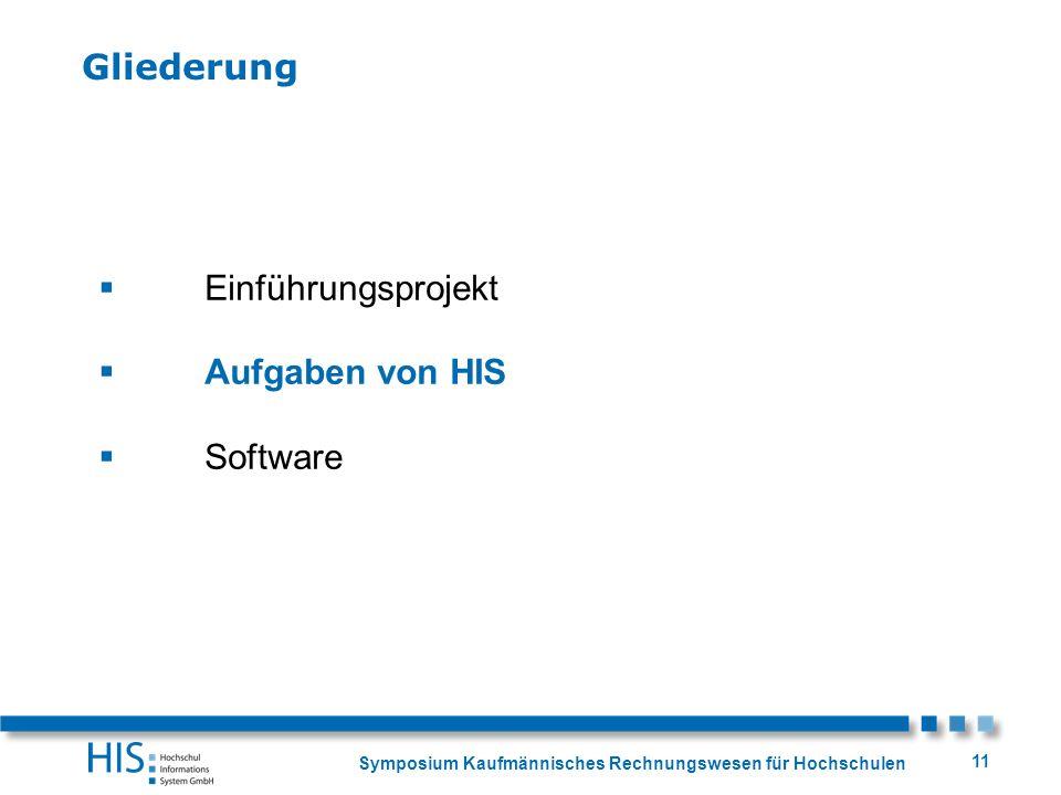 Gliederung Einführungsprojekt Aufgaben von HIS Software