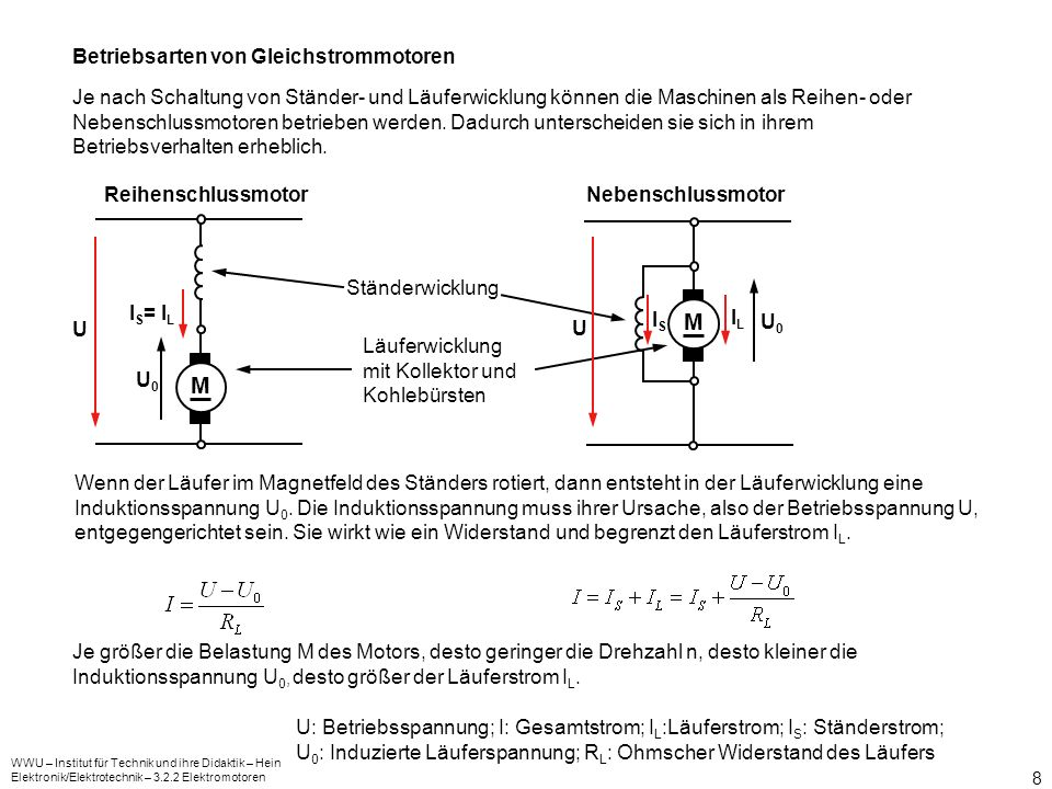 M M Betriebsarten von Gleichstrommotoren