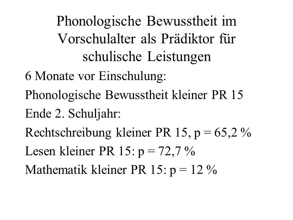 Phonologische Bewusstheit im Vorschulalter als Prädiktor für schulische Leistungen