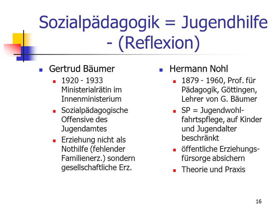 Sozialpädagogik = Jugendhilfe - (Reflexion)