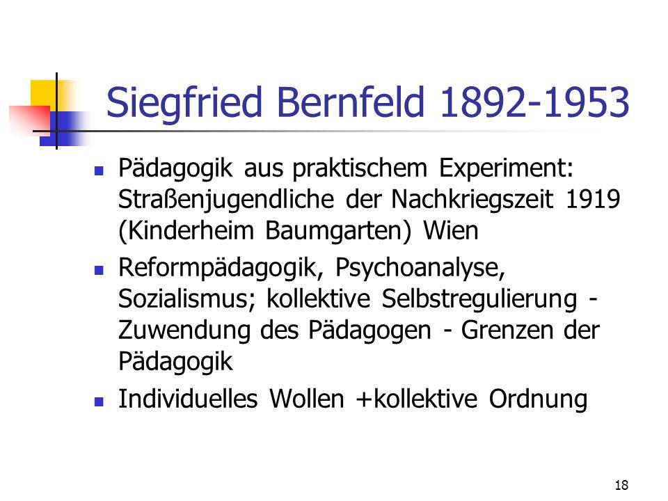 Siegfried Bernfeld 1892-1953 Pädagogik aus praktischem Experiment: Straßenjugendliche der Nachkriegszeit 1919 (Kinderheim Baumgarten) Wien.