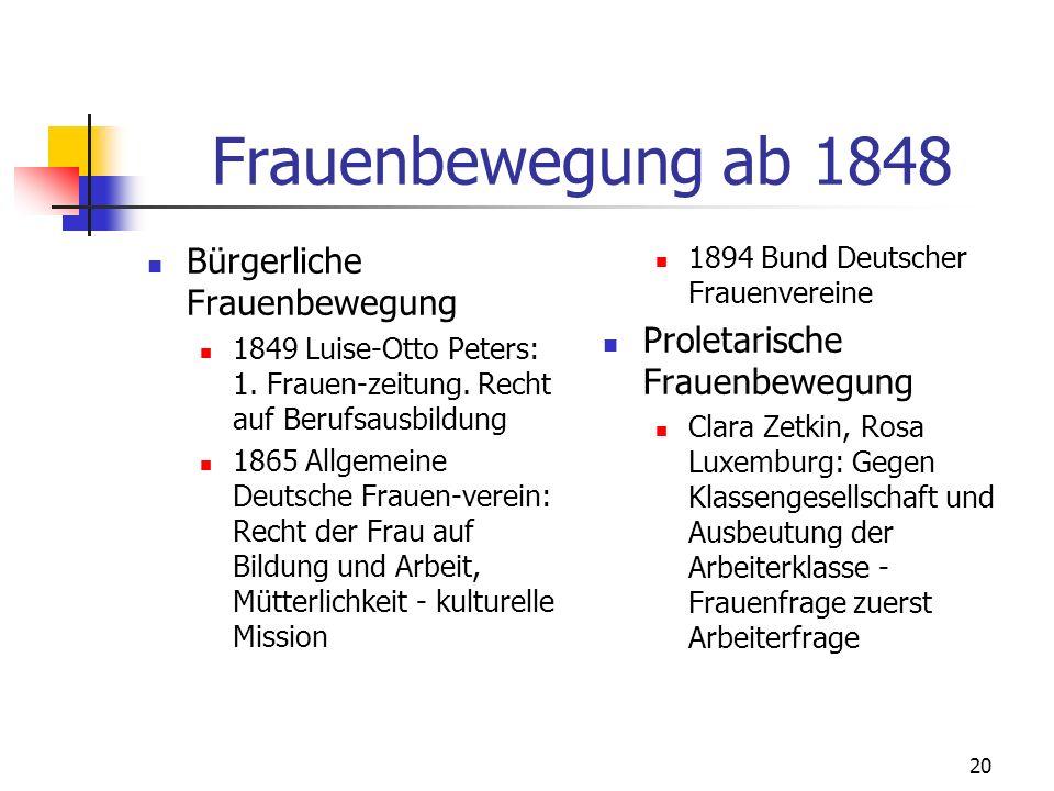 Frauenbewegung ab 1848 Bürgerliche Frauenbewegung