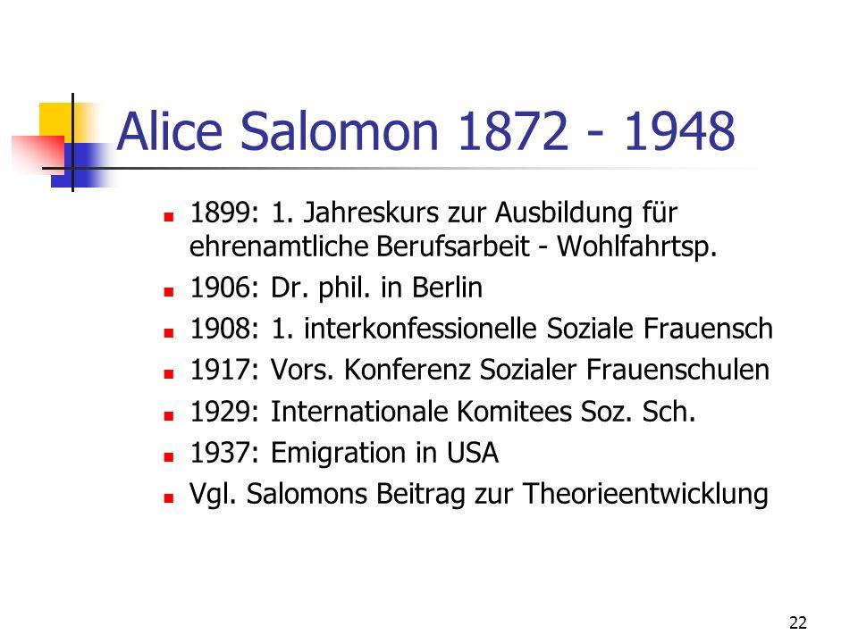 Alice Salomon 1872 - 1948 1899: 1. Jahreskurs zur Ausbildung für ehrenamtliche Berufsarbeit - Wohlfahrtsp.