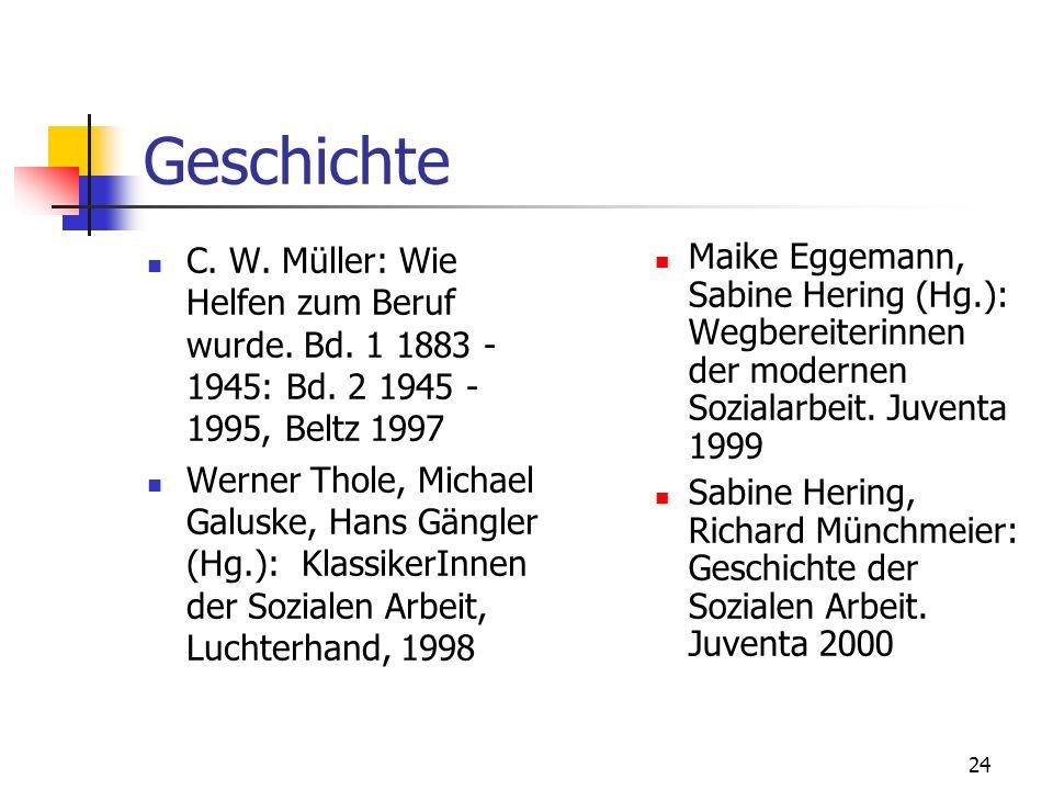 Geschichte C. W. Müller: Wie Helfen zum Beruf wurde. Bd. 1 1883 - 1945: Bd. 2 1945 - 1995, Beltz 1997.