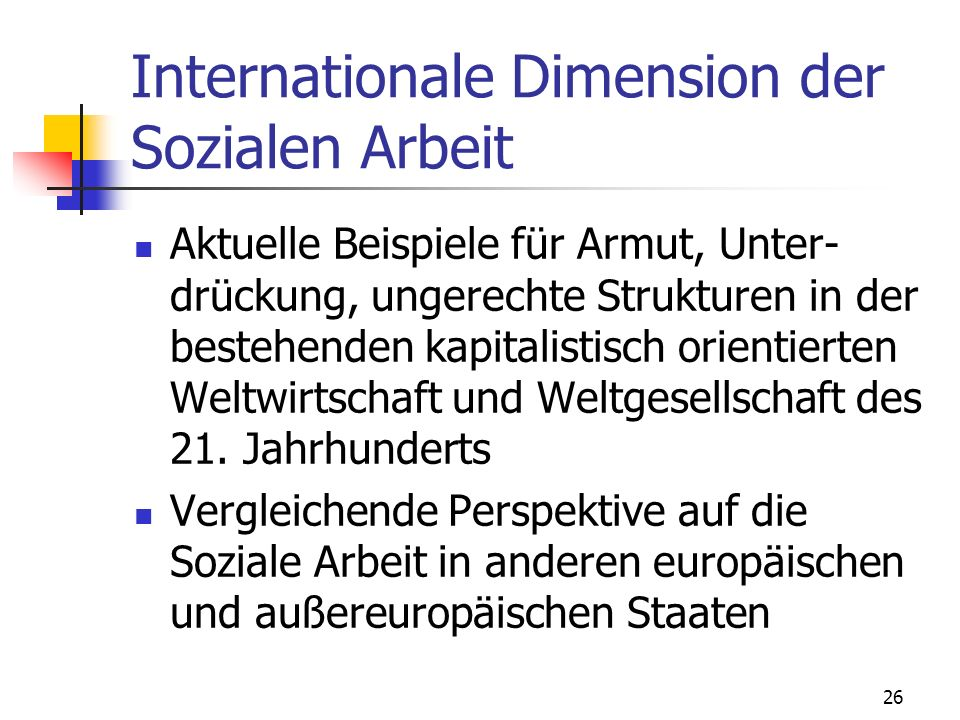 Internationale Dimension der Sozialen Arbeit