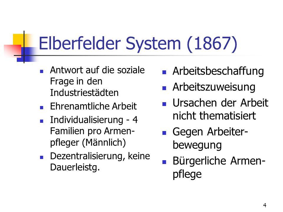 Elberfelder System (1867) Arbeitsbeschaffung Arbeitszuweisung