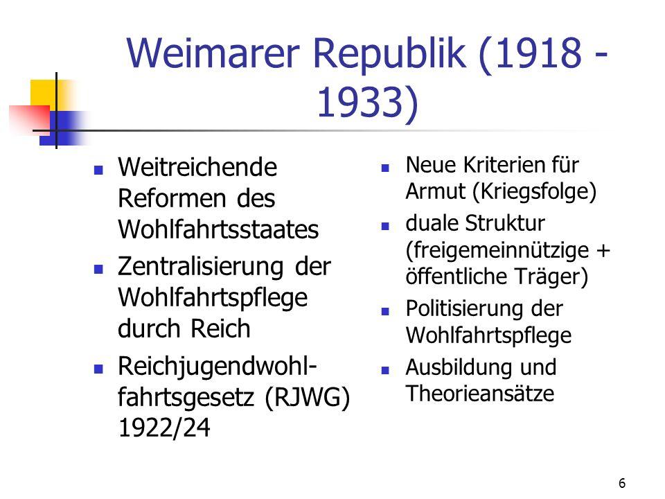 Weimarer Republik (1918 - 1933) Weitreichende Reformen des Wohlfahrtsstaates. Zentralisierung der Wohlfahrtspflege durch Reich.