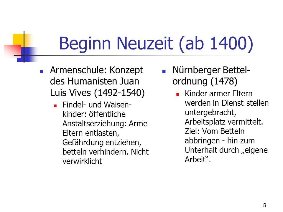 Beginn Neuzeit (ab 1400) Armenschule: Konzept des Humanisten Juan Luis Vives (1492-1540)