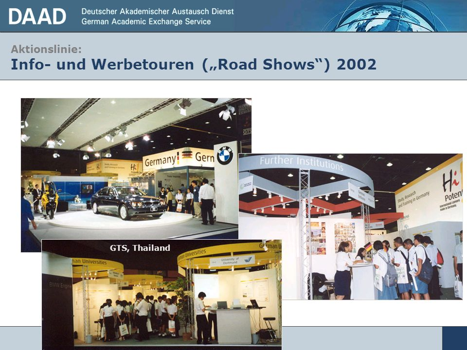 "Aktionslinie: Info- und Werbetouren (""Road Shows ) 2002"