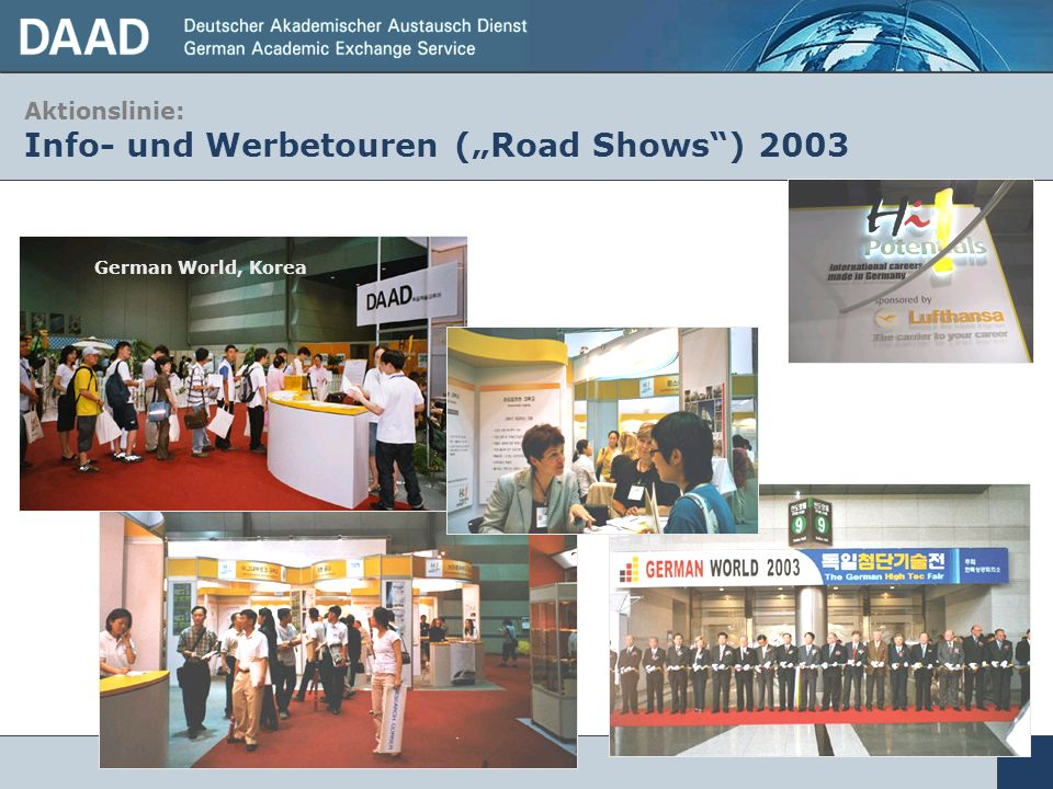"Aktionslinie: Info- und Werbetouren (""Road Shows ) 2003"