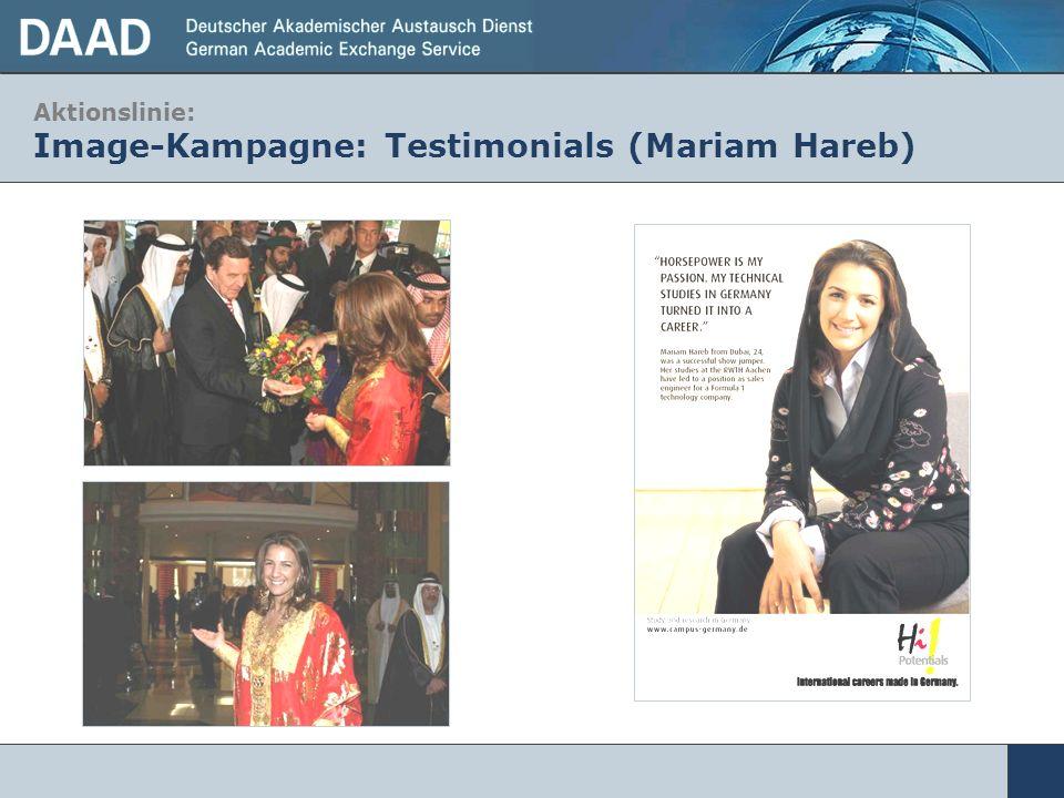 Aktionslinie: Image-Kampagne: Testimonials (Mariam Hareb)