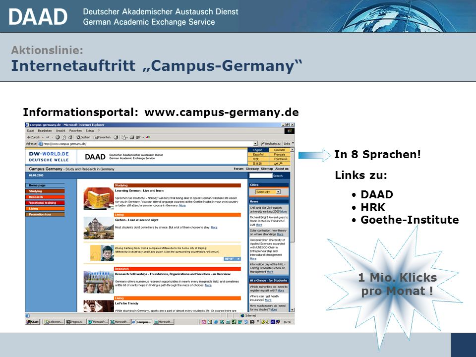 "Aktionslinie: Internetauftritt ""Campus-Germany"