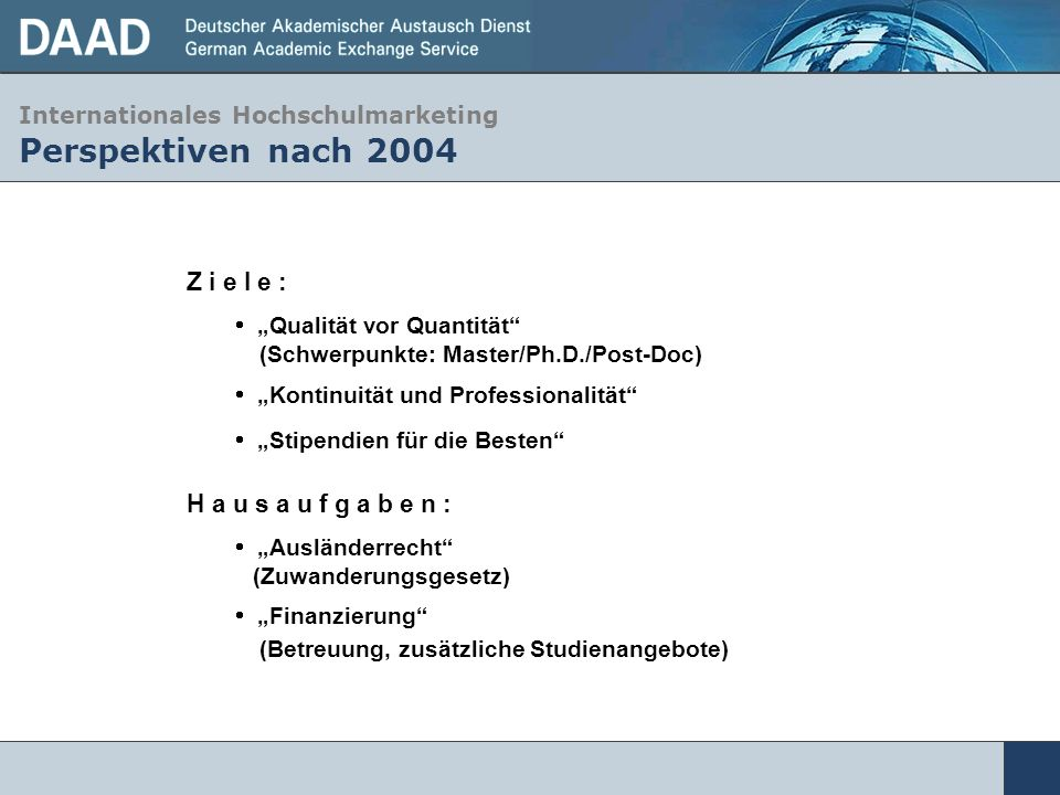 Internationales Hochschulmarketing Perspektiven nach 2004