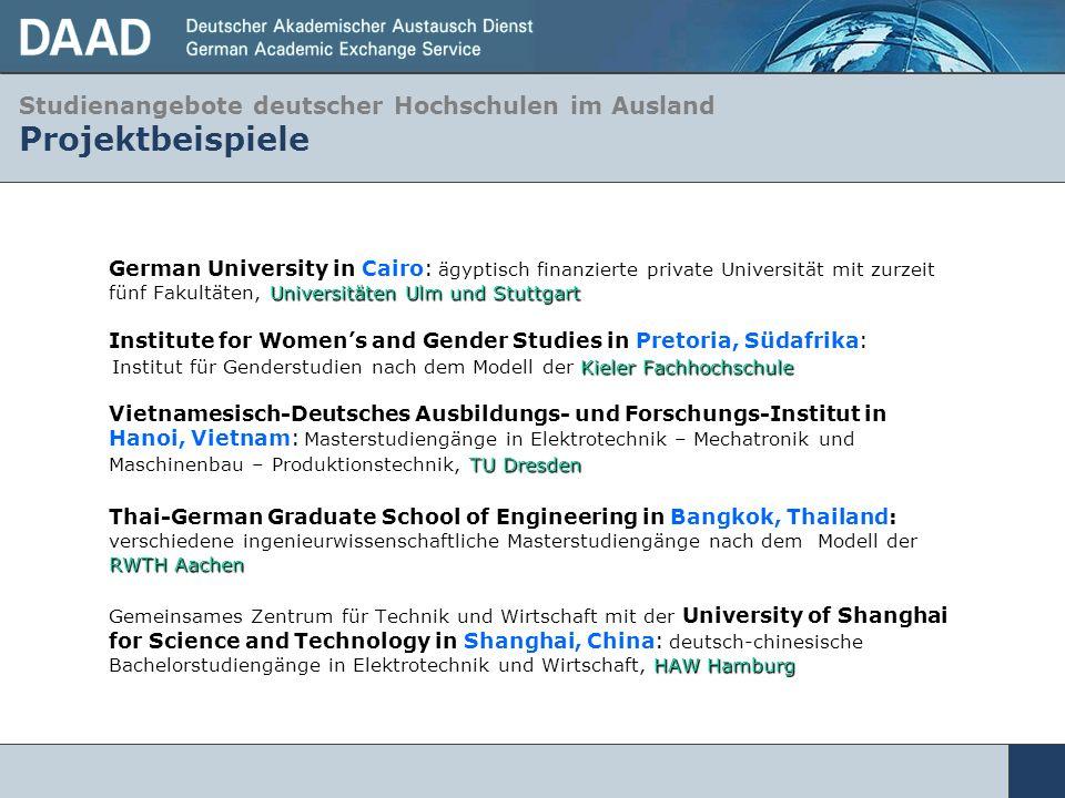 Studienangebote deutscher Hochschulen im Ausland Projektbeispiele