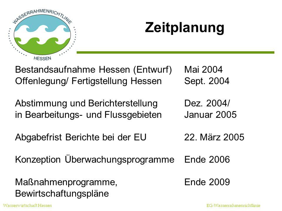 Zeitplanung Bestandsaufnahme Hessen (Entwurf) Mai 2004