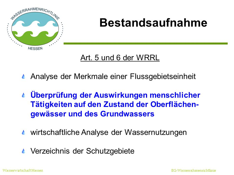 Bestandsaufnahme Art. 5 und 6 der WRRL