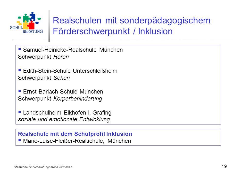 Realschulen mit sonderpädagogischem Förderschwerpunkt / Inklusion