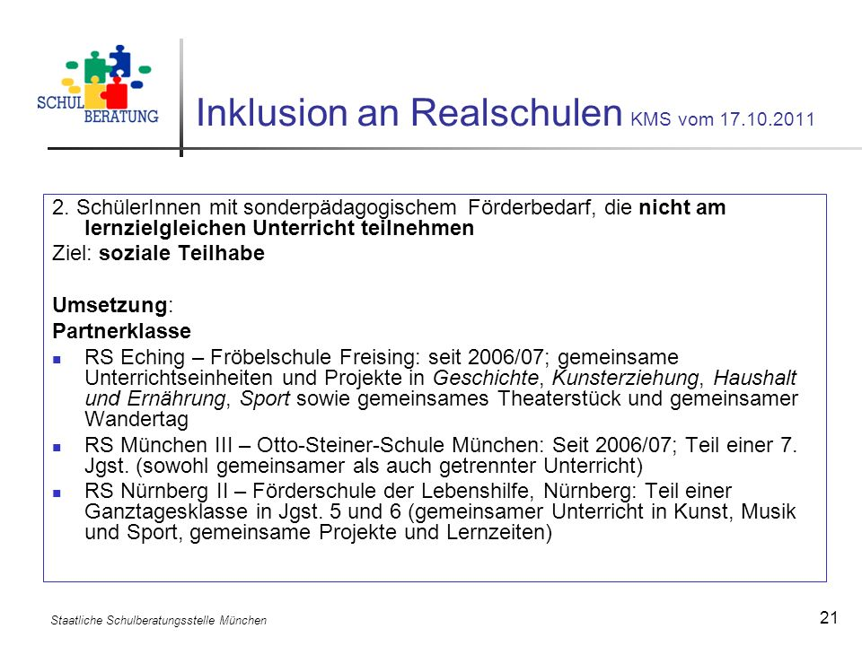 Inklusion an Realschulen KMS vom 17.10.2011